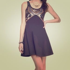 Skater Style Grey Dress with Aztec Sequin Top